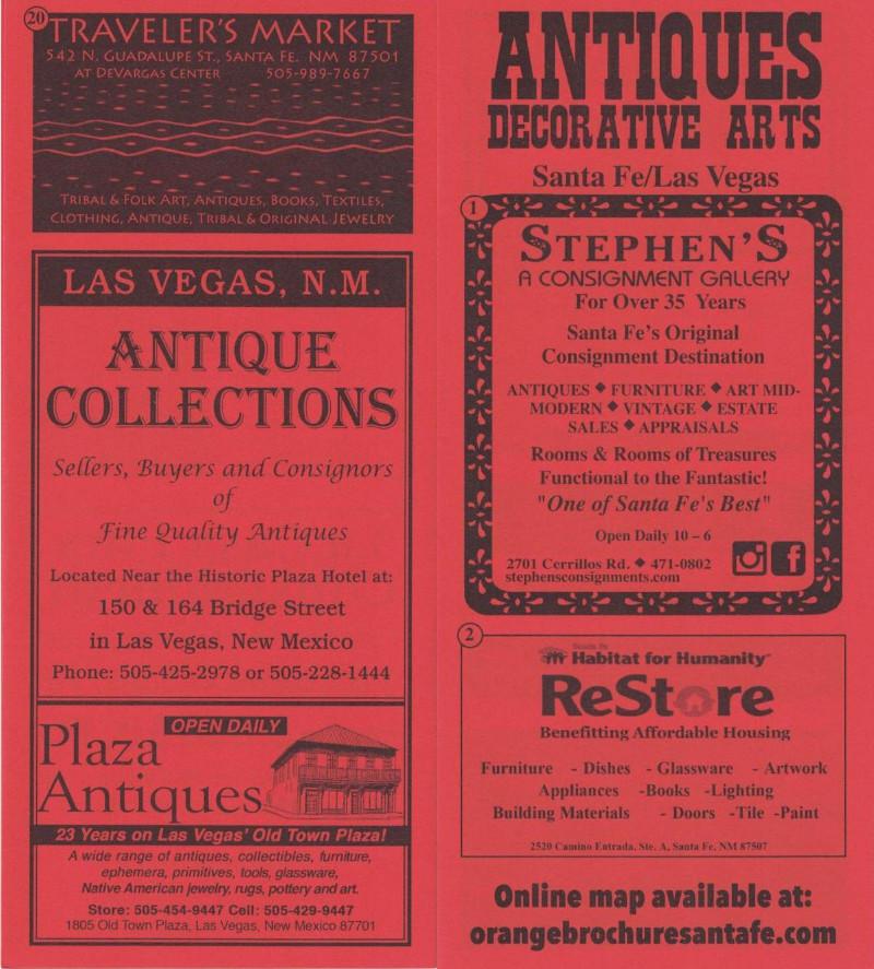 Antiques - Santa Fe and Las Vegas brochure