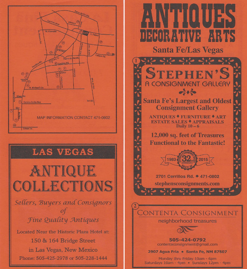Antiques - Santa Fe and Las Vegas brochure
