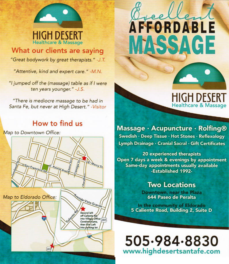 High Desert Healthcare and Massage brochure