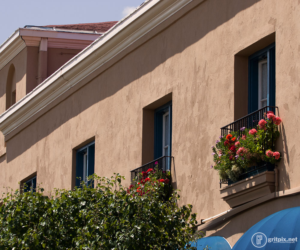 Downtown Santa Fe overflows with summer flowers.