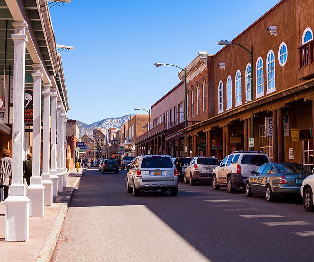 Looking down San Francisco Street, in Historic Santa Fe, New Mexico.