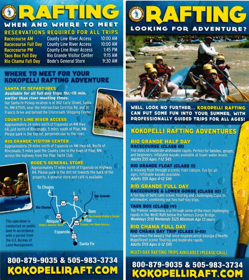 Kokopelli Rafting brochure