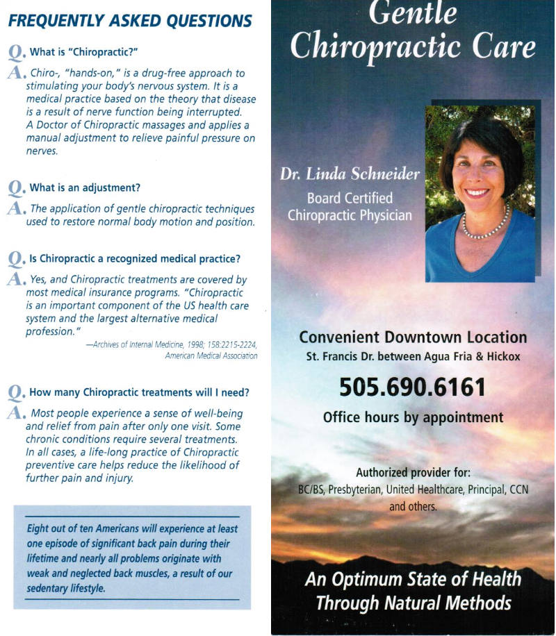 Gentle Chiropractic Care by Linda Schneider brochure