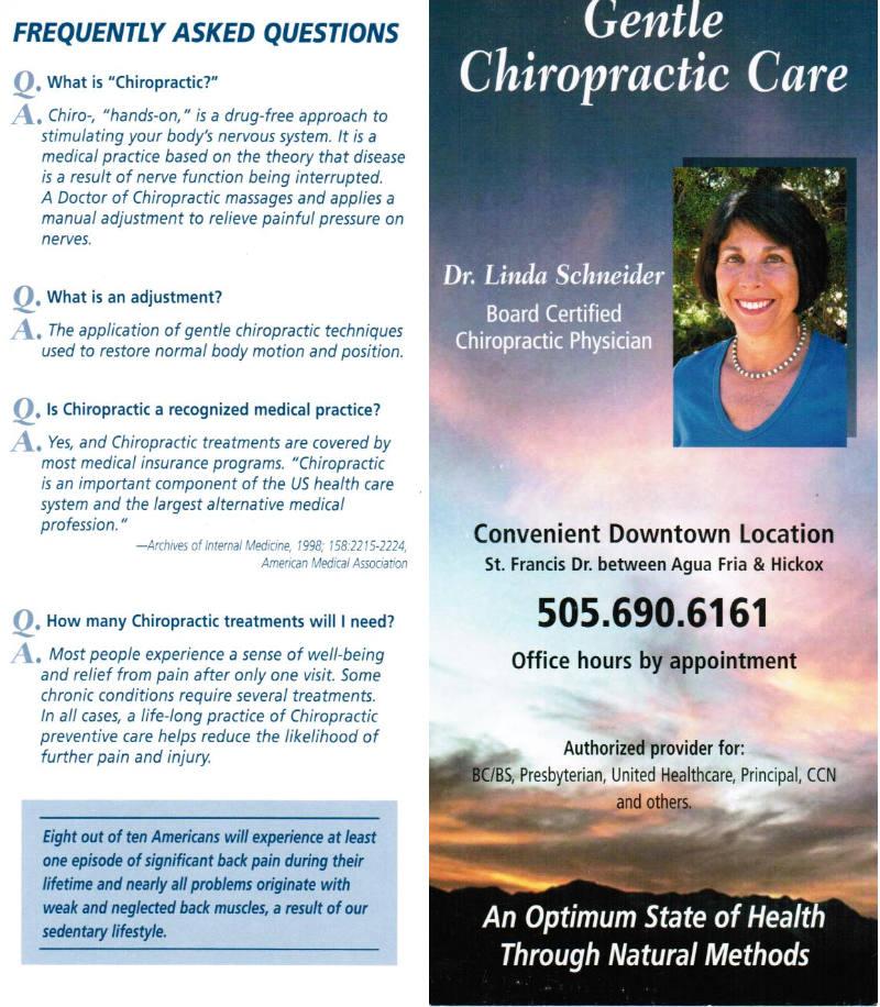 Gentle Chiropractic Care by Linda Schneider brochure