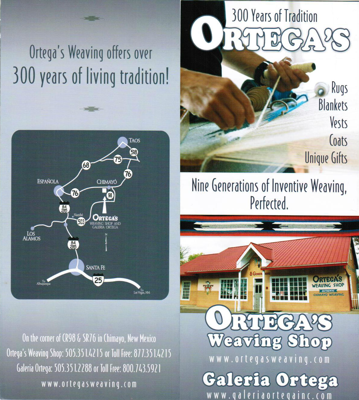 Ortega's Weaving Shop brochure