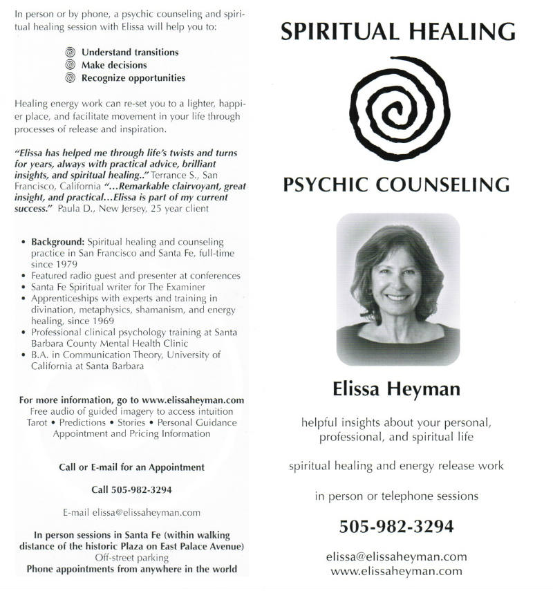 Psychic Counseling and Spiritual Healing by Elissa Heyman brochure