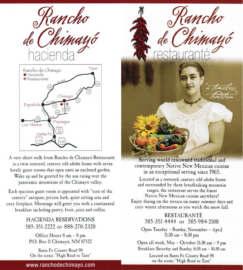 Rancho de Chimayo information brochure.